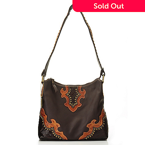 704-626 - American West Smooth Leather Zip Top Studded Hobo Handbag