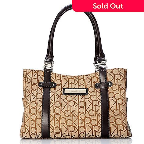 704-638 - Calvin Klein Handbags Signature Logo Jacquard Satchel