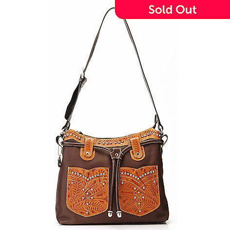 704-689 - American West Zip Top Leather Structured Hobo Bag