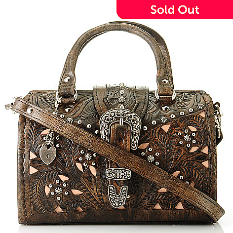 704-696 - American West ''Tumbleweed'' Hand Tooled Leather Doctor's Handbag