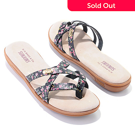 704-712 - Bass Shoes ''Sharon'' Floral Print Leather Thong Sandals