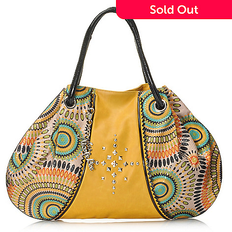 704-733 - Nicole Lee Stud Detailed Color Burst Print Hobo Handbag