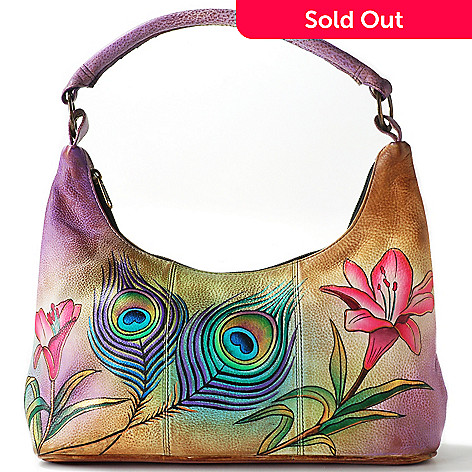 704-805 - ''As Is'' Anuschka Hand-Painted Leather Hobo Handbag w/ Exterior Pocket