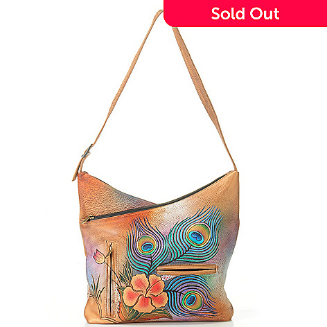 704-821 - Anuschka Hand-Painted Leather V-Top Hobo Handbag