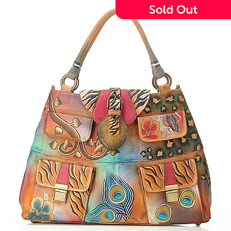 704-954 - Anuschka Hand-Painted Leather Shopper w/Adjustable Shoulder Strap