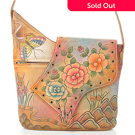 705-221 - Anuschka Hand-Painted Leather Asymmetric Flap Bag