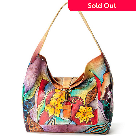 705-224 - Anuschka Hand-Painted Leather Fold-over Hobo Handbag