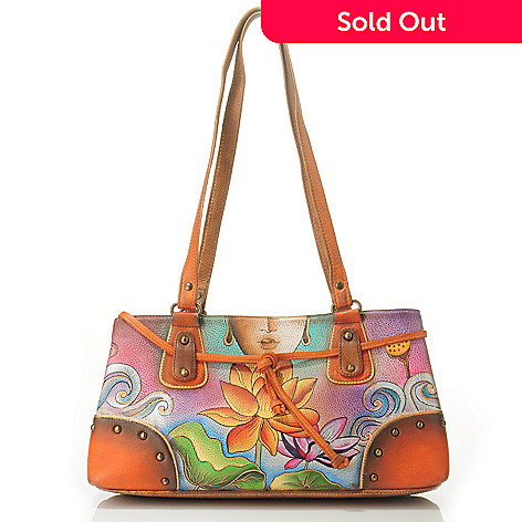 705-227 - Anuschka Hand-Painted Leather Studded Multi Compartment East-West Satchel