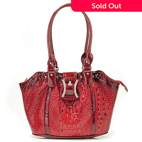 705-850 - Madi Claire ''Lanka'' Sculpted Top Croco Embossed Leather Tote