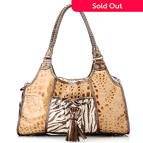 705-853 - Madi Claire Croco Embossed Leather ''Tamara'' Satchel with Zebra Accents