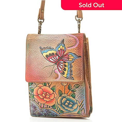 705-908 - Anuschka Hand-Painted Leather Sling Organizer Handbag