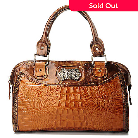 705-931 - Madi Claire ''Devon'' Convertible Croco Embossed Leather Satchel