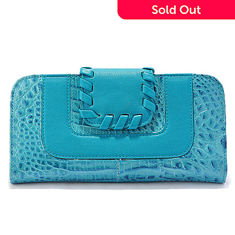 705-938 - Madi Claire Croco Embossed Leather Whipstitch Detailed Wallet