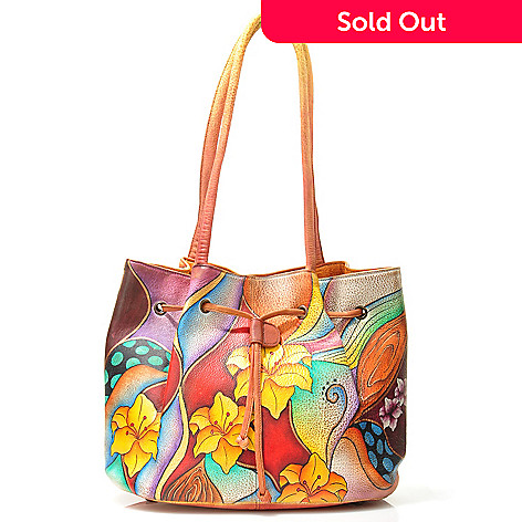 706-067 - Anuschka Drawstring Detail Hand-Painted Leather Handbag