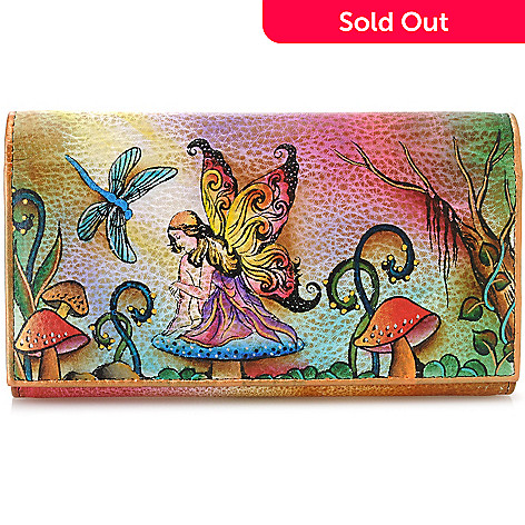 706-177 - Anuschka Hand-Painted Leather Multi Pocket Wallet Clutch