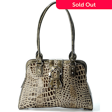 706-241 - Madi Claire Croco Embossed Leather Dome Satchel