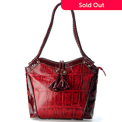 706-242 - Madi Claire ''Fresno'' Croco Embossed Leather Jumbo Bucket Handbag