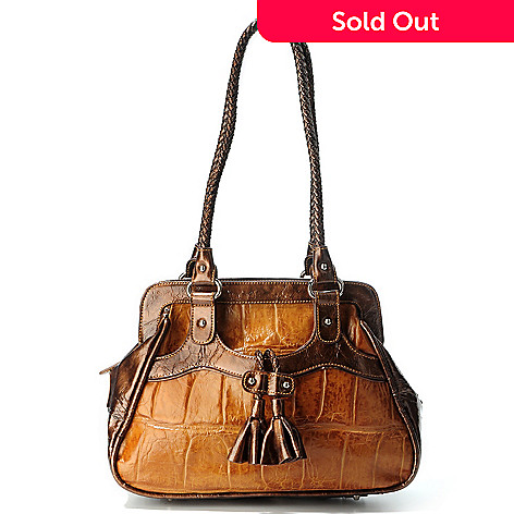 706-243 - Madi Claire Croco Embossed Leather ''Fresno'' Framed Satchel