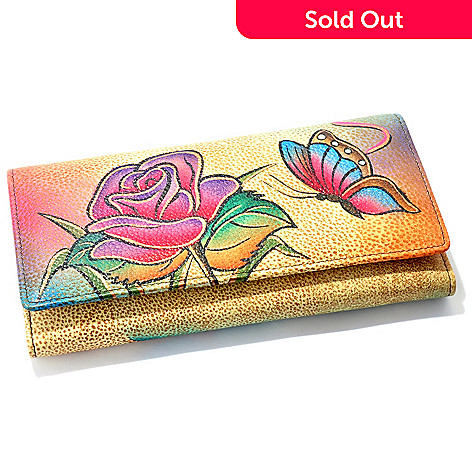 706-276 - Anuschka Hand-Painted Leather Clutch / Wallet