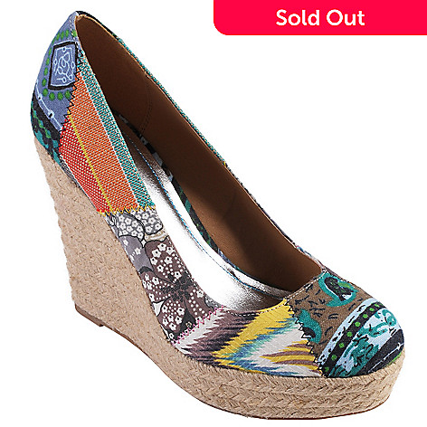 708-847 - Hailey Jeans Co Womens Patchwork Round Toe Canvas Wedges