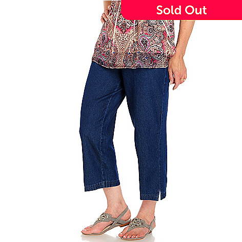 709-196 - Toofan Denim Side Button Pull-on Capri Pants