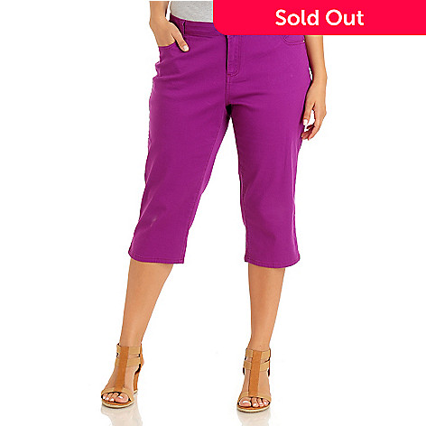 709-201 - Baccini Five-Pocket Rhinestone Accented Color Capri Pants