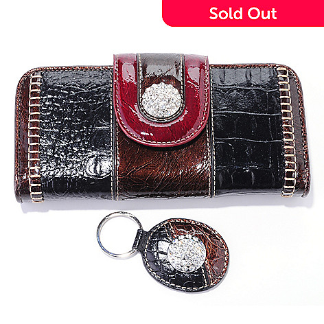 709-207 - Madi Claire Rhinestone Detailed Wallet w/ Key Chain
