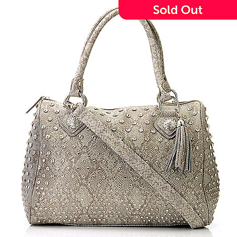 709-211 - Bag Chique Rhinestone Studded Snake Print Zip Top Satchel Handbag
