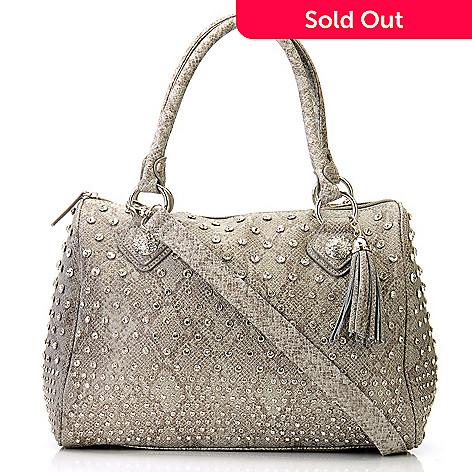 709-211 - Bag Chique Rhinestone Studded Snake Print Zip Top Satchel Handbag