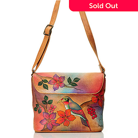 709-214 - Anuschka Hand-Painted Leather Medium Flap Convertible Handbag