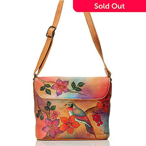709-214 - Anuschka Hand-Painted Leather Medium Flap Convertible Handbag