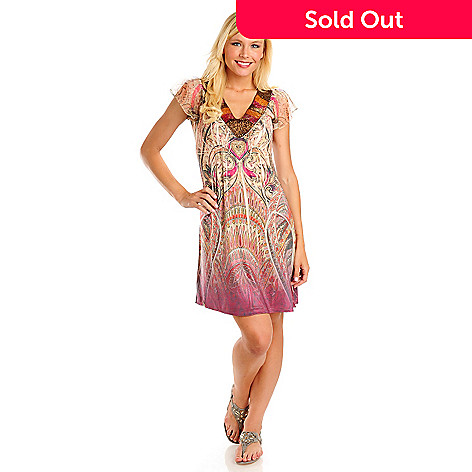 709-237 - One World Micro Jersey Beaded Neckline Empire Waist Flip Flop Dress