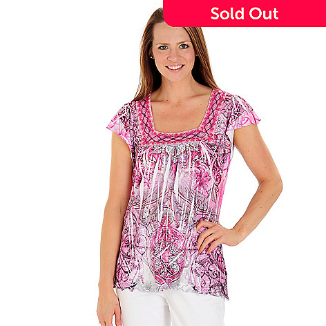 709-238 - One World  Flutter Sleeve Crochet Detailed Printed Stretch Knit Top