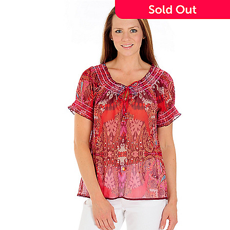 709-250 - One World Printed Yoryu Sequin & Bead Detailed Peasant Top