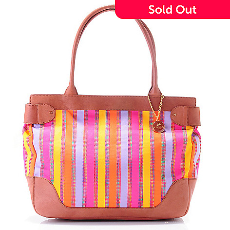 709-267 - Koret Luxe ''Stripe It Rich'' Woven Leather Large Tote Bag