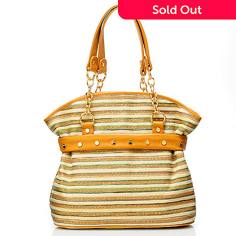 709-359 - Bodhi ''Multi Stripe'' Chain Detailed Satchel Handbag