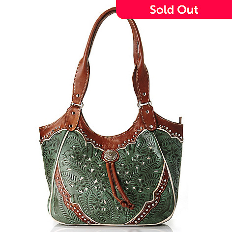 709-361 - American West  Hand-Tooled Leather Scoop Top Tote Bag