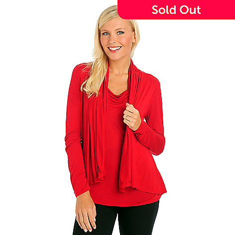 709-448 - Kate & Mallory® Cowl Neck Long Sleeved Drape Front Top  w/ Attached Cardigan