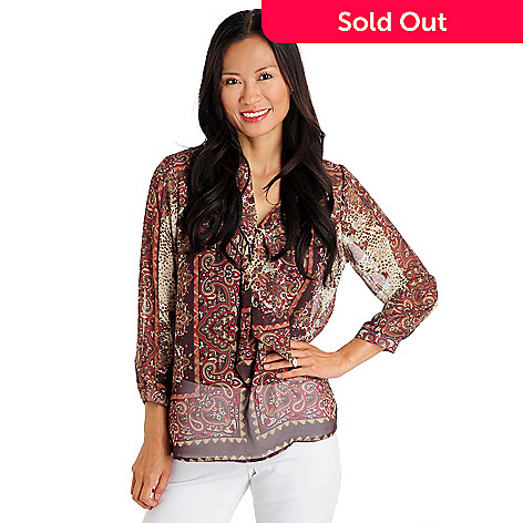 709-469 - August Silk V-Neck 3/4 Sleeve Tie Collar Printed Blouse