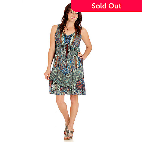 709-472 - One World Sleeveless Empire Waist Printed Knit Flip Flop Dress