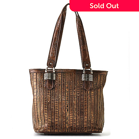 709-475 - Madi Claire Croco Embossed Leather ''Sienna'' Zip Top Tote Bag