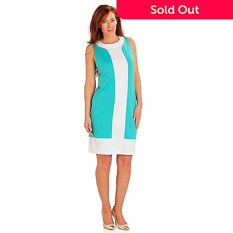 709-490 - Fever Stretch Ponte Sleeveless Color Block Shift Dress
