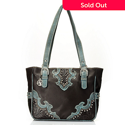709-506 - American West Yolk Detailed Zip Top Leather Tote Bag