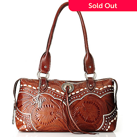709-509 - American West Hand-Tooled Leather Zip Around East-West Tote Bag