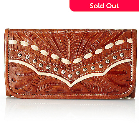 709-510 - American West Hand-Tooled Leather Stud Detailed Tri-Fold Wallet