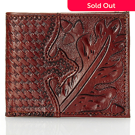 709-518 - American West Men's Hand Tooled Leather Bi-Fold Wallet