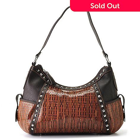 709-537 - Madi Claire ''Katina'' Stud Detailed Leather Hobo Bag