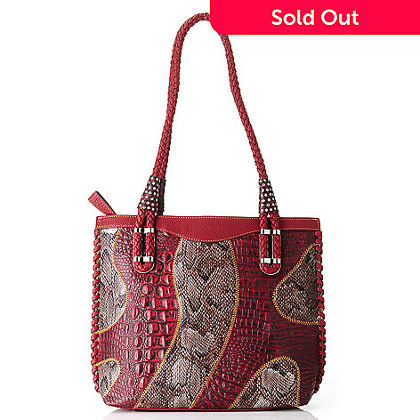 709-538 - Madi Claire ''Brianna'' Crocodile Embossed & Snake Print Leather Tote Bag
