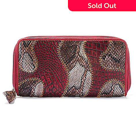709-540 - Madi Claire Croco Embossed Leather & Snake Print ''Brianna'' Wallet