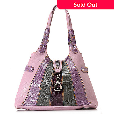 709-541 - Madi Claire ''Isabel'' Crocodile Embossed Leather Double Handle Striped Hobo Bag
